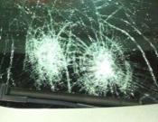 כך נראה רכב שנפגע מאבנים באיזור כרמיאל