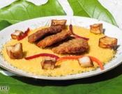 מנה חגיגית לכבוד ראש השנה ברשת המסעדות החברתיות FOODIX : לביבות דג, מדג אמנון על מצע קוסקוס.